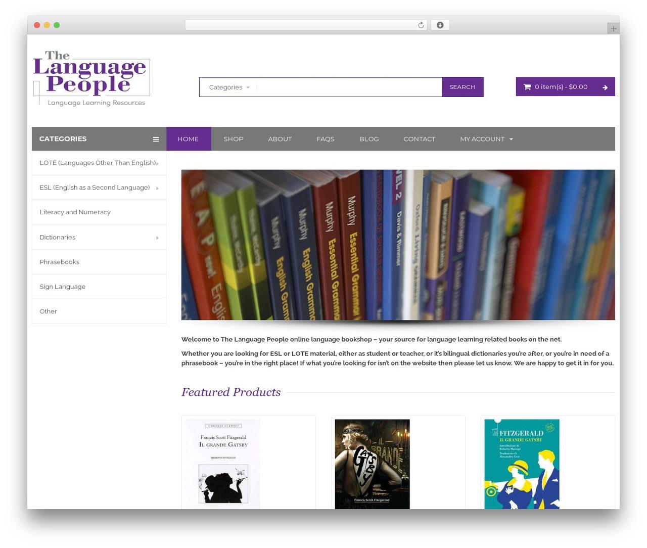 BigBoom WordPress ecommerce theme - thelanguagepeople.com.au