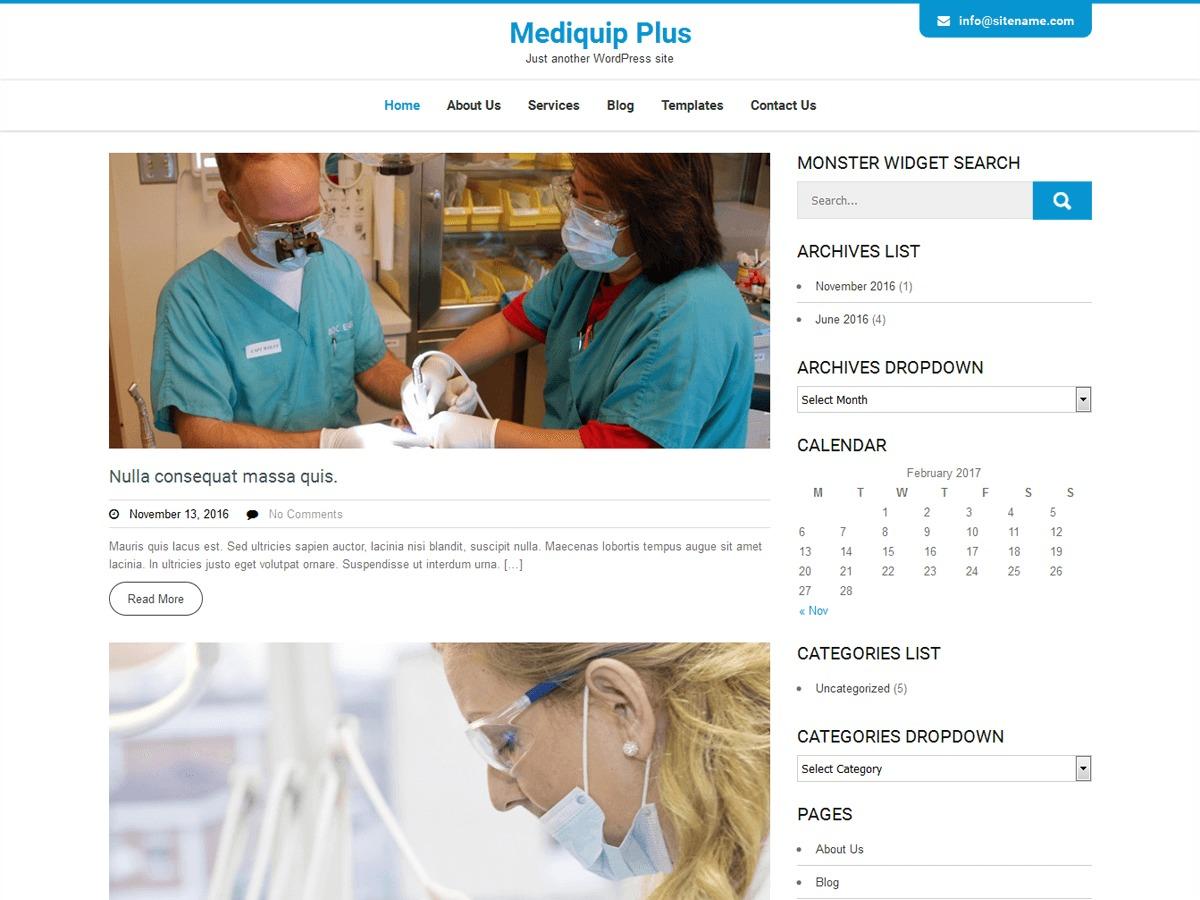 Mediquip Plus medical WordPress theme