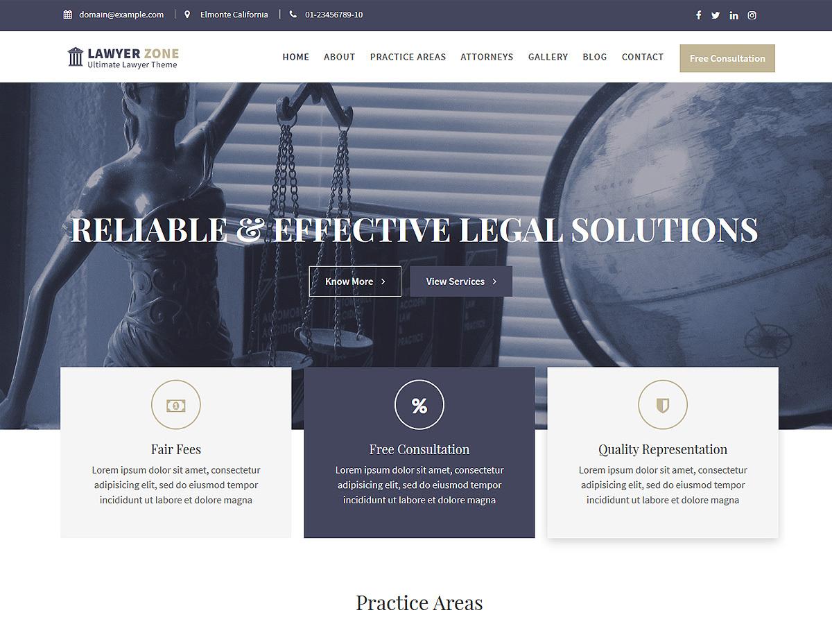 Lawyer Zone medical WordPress theme