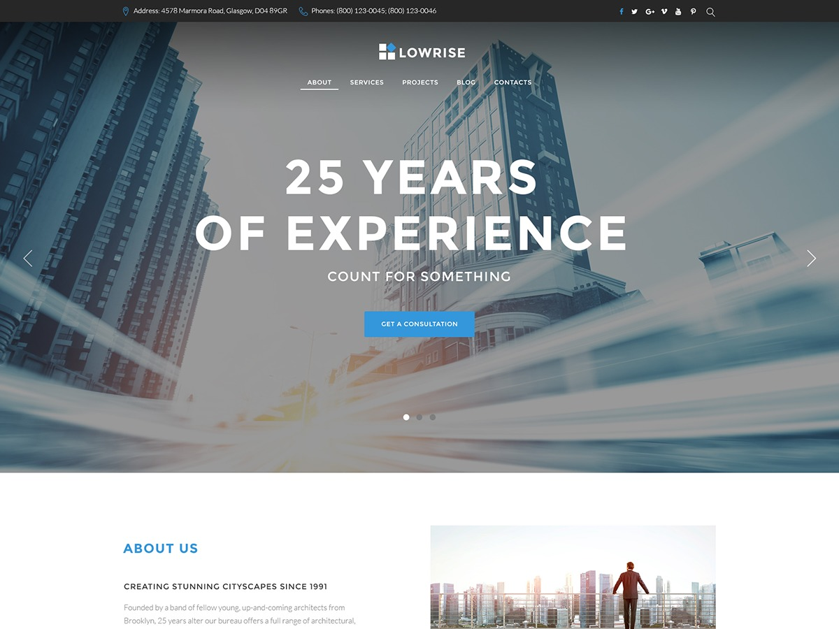 Lowrise business WordPress theme