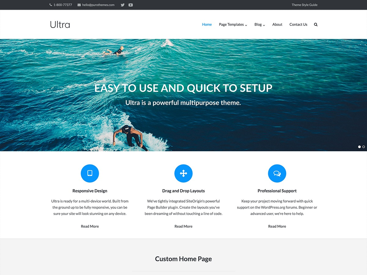 Ultra WordPress template for business