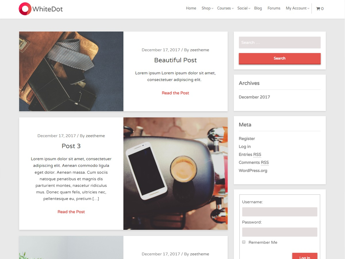 WhiteDot WordPress ecommerce template