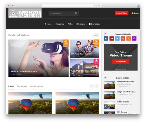 videopro WordPress page template - growingupinthe90s.com