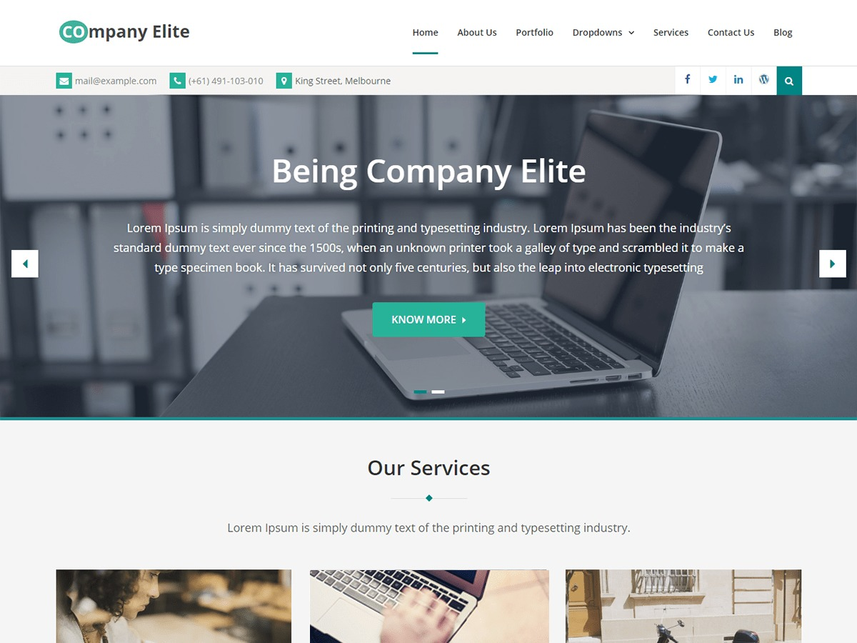 Company Elite company WordPress theme