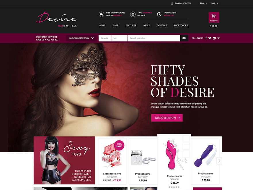 Desire Sexy Shop WordPress ecommerce theme