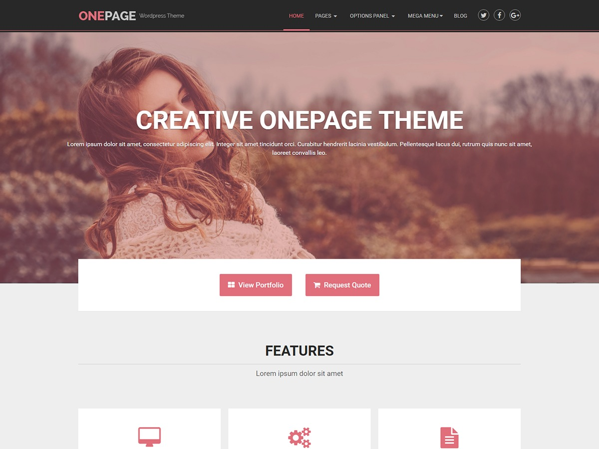 OnePage Lite best portfolio WordPress theme