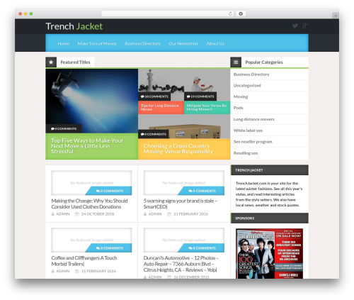 Reviewgine Affiliate free WordPress theme - trenchjacket.com