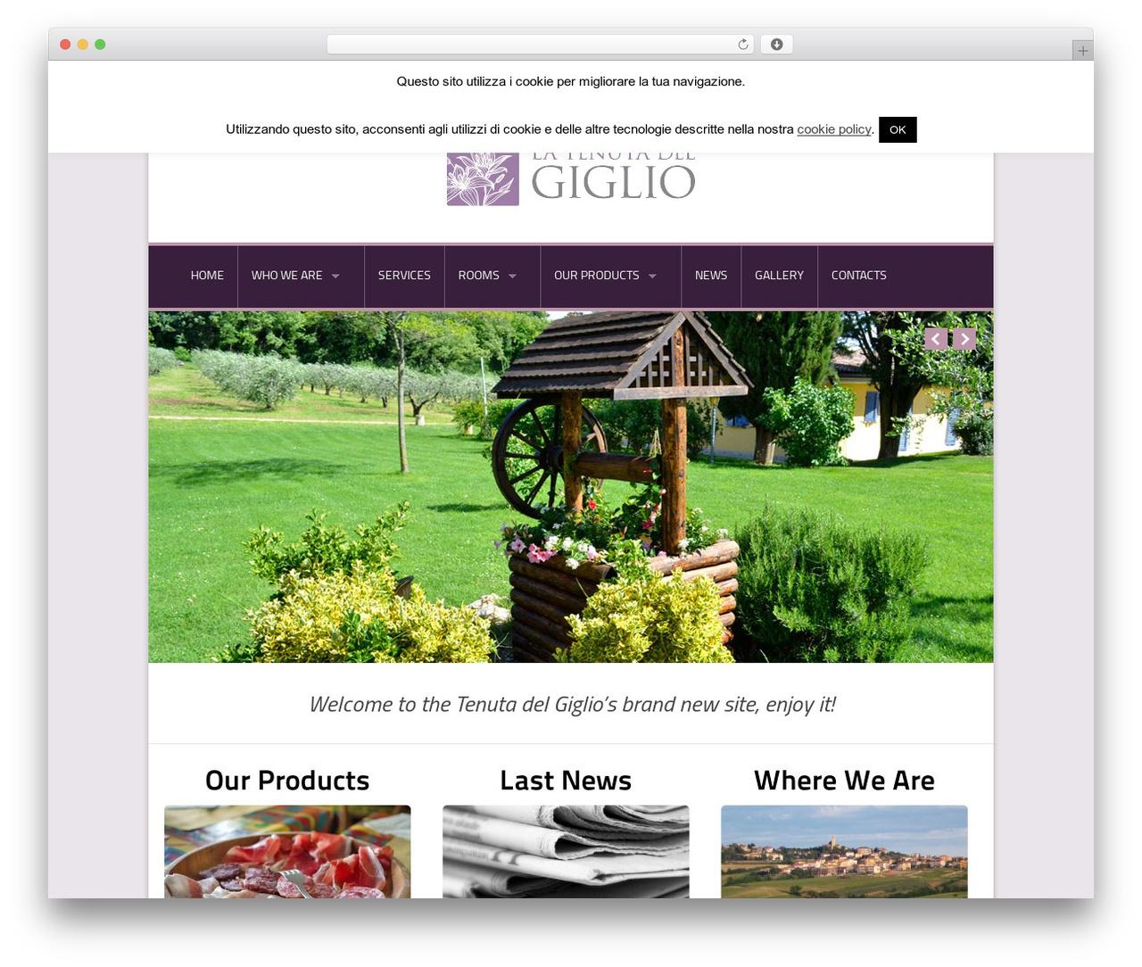 WordPress theme Nice Hotel - tenutadelgiglio.com