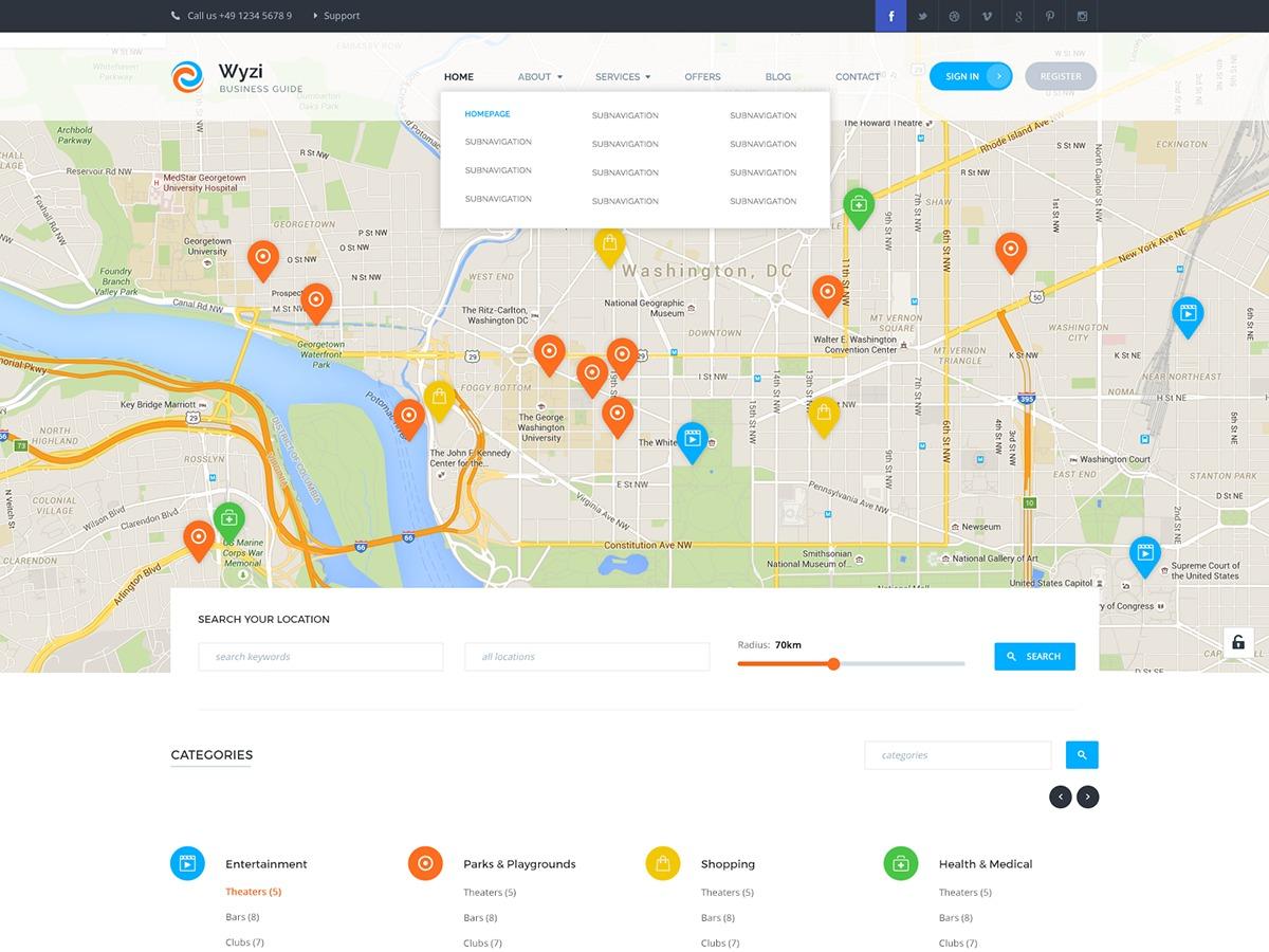 WYZI Business Finder business WordPress theme