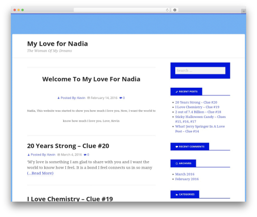 Boldly Go Blue WordPress theme design - mylovefornadia.com