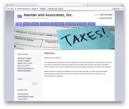 Customized company WordPress theme - awotwiandassociates.com