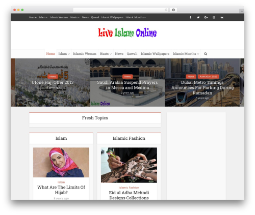 Voice WordPress blog template - liveislamonline.com