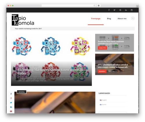Papillon WordPress blog theme - tapiotuomola.fi