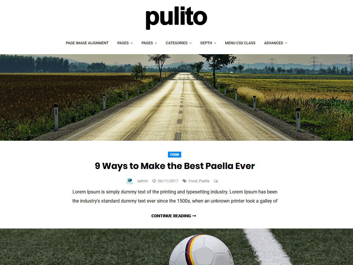 Pulito Clean Blog Lite WordPress blog template