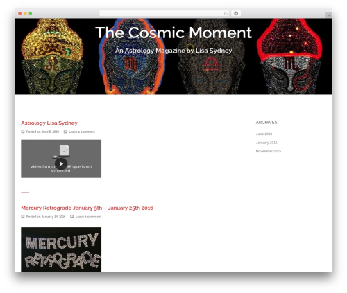 Sydney best free WordPress theme - thecosmicmoment.net