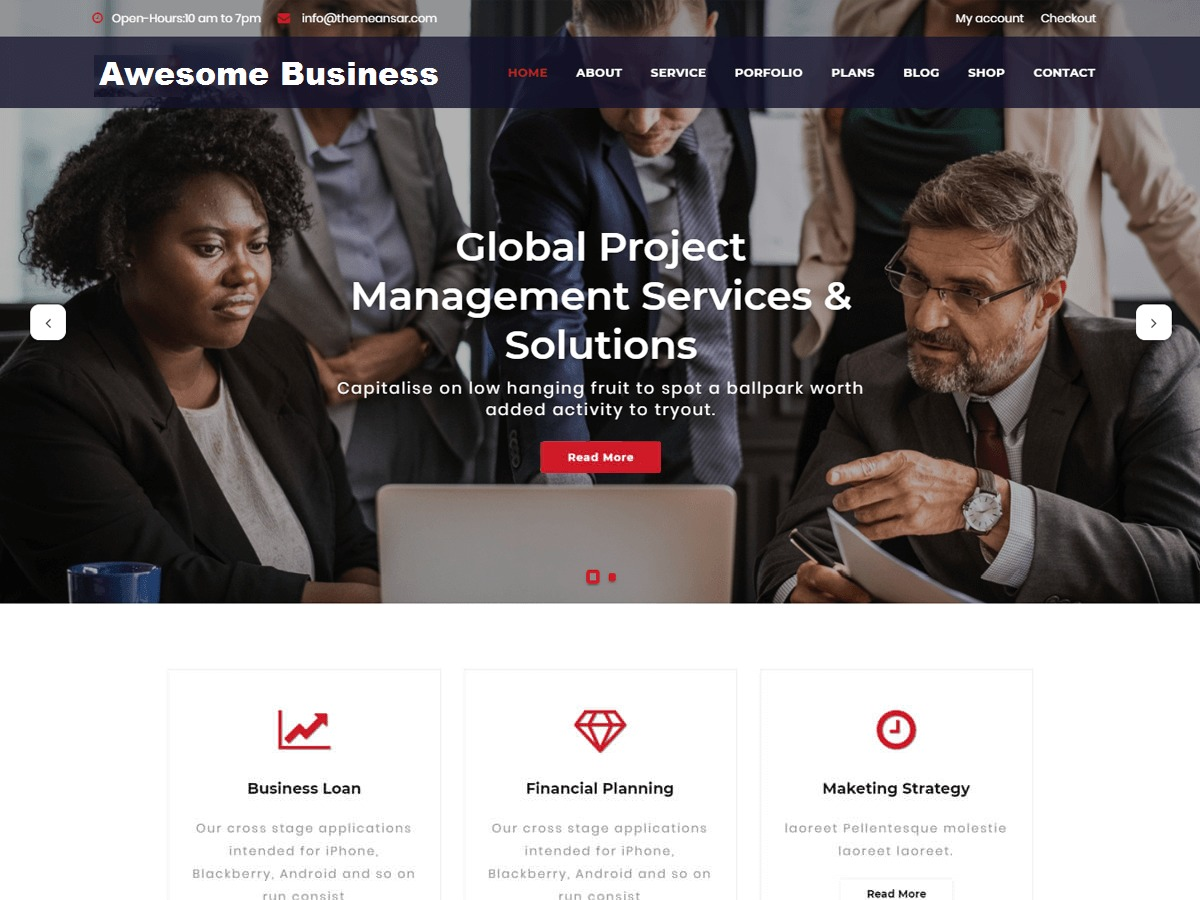Awesome Business WordPress shop theme