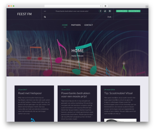 Beat Mix Lite WordPress theme design - feestfm.nl