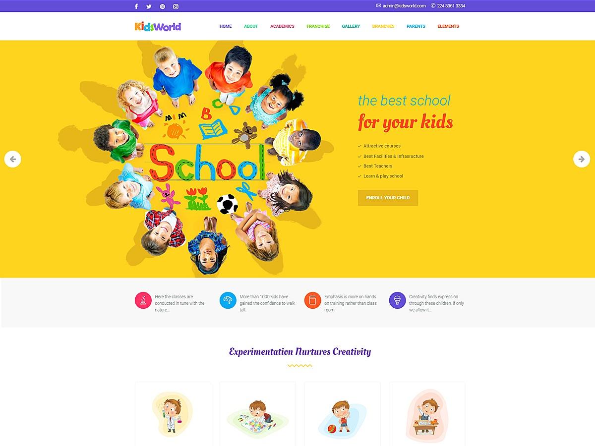Kids World WordPress page template
