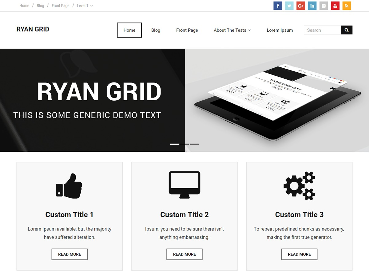 Ryan Grid WordPress portfolio template
