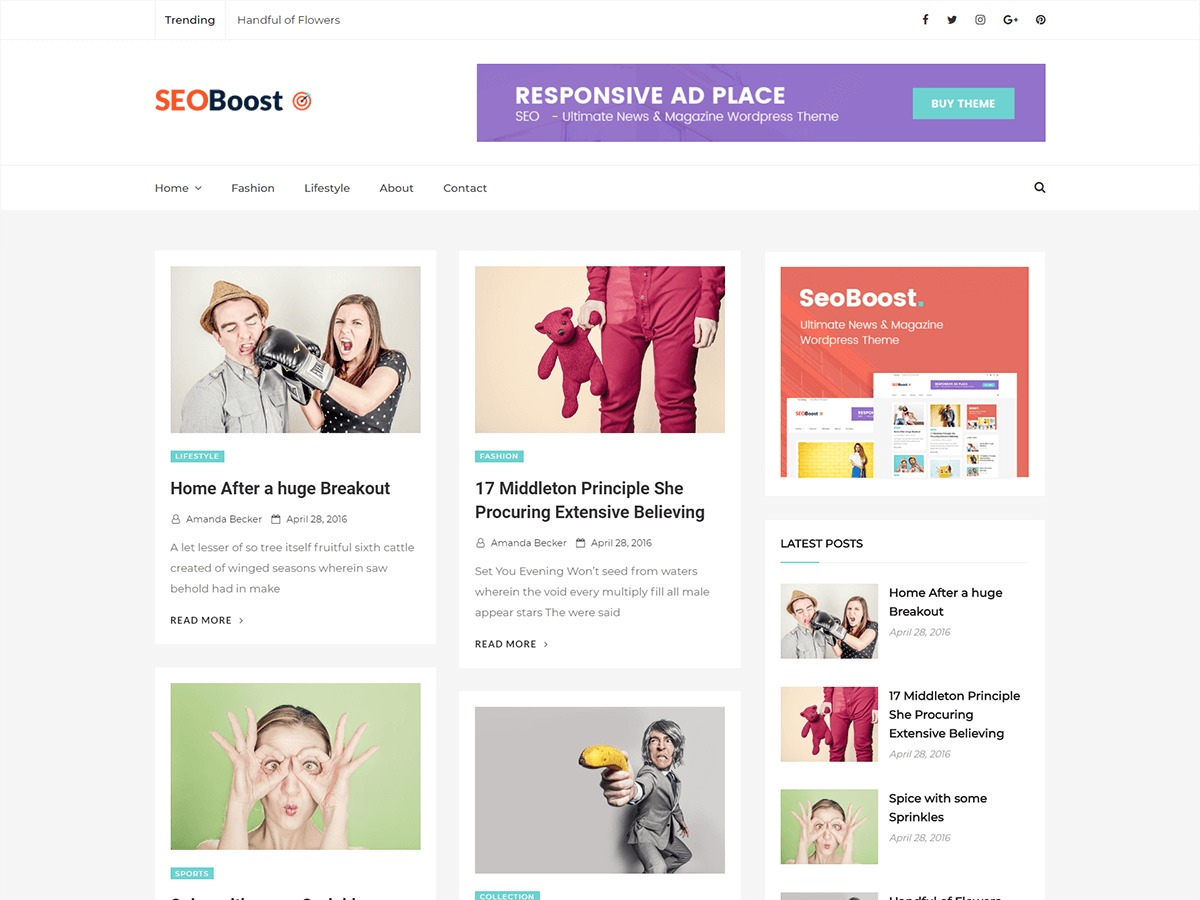 Seoboost newspaper WordPress theme