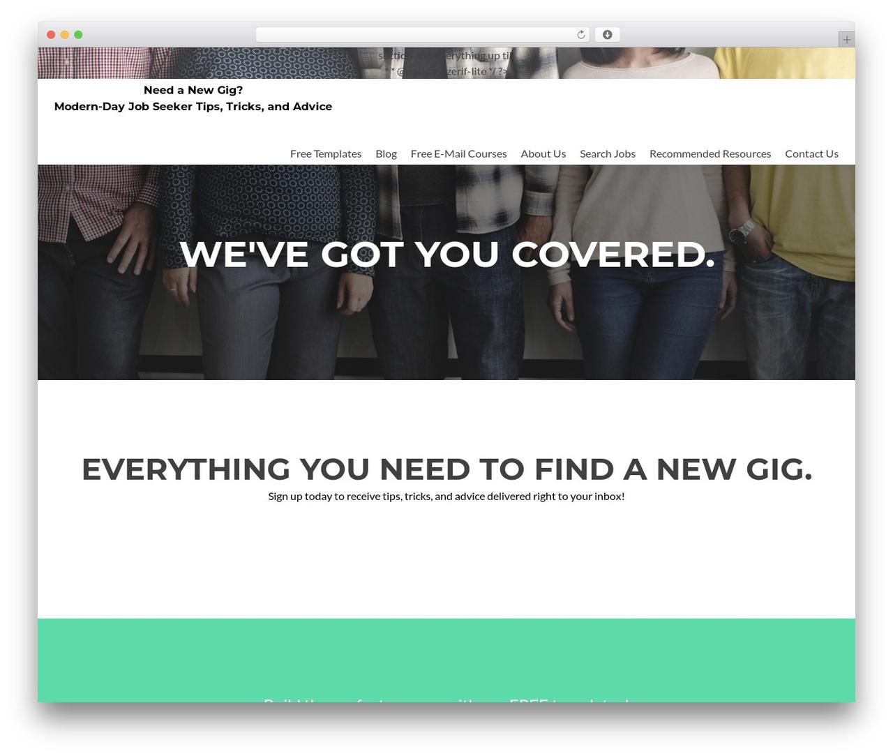 Zerif Lite best free WordPress theme - needanewgig.com