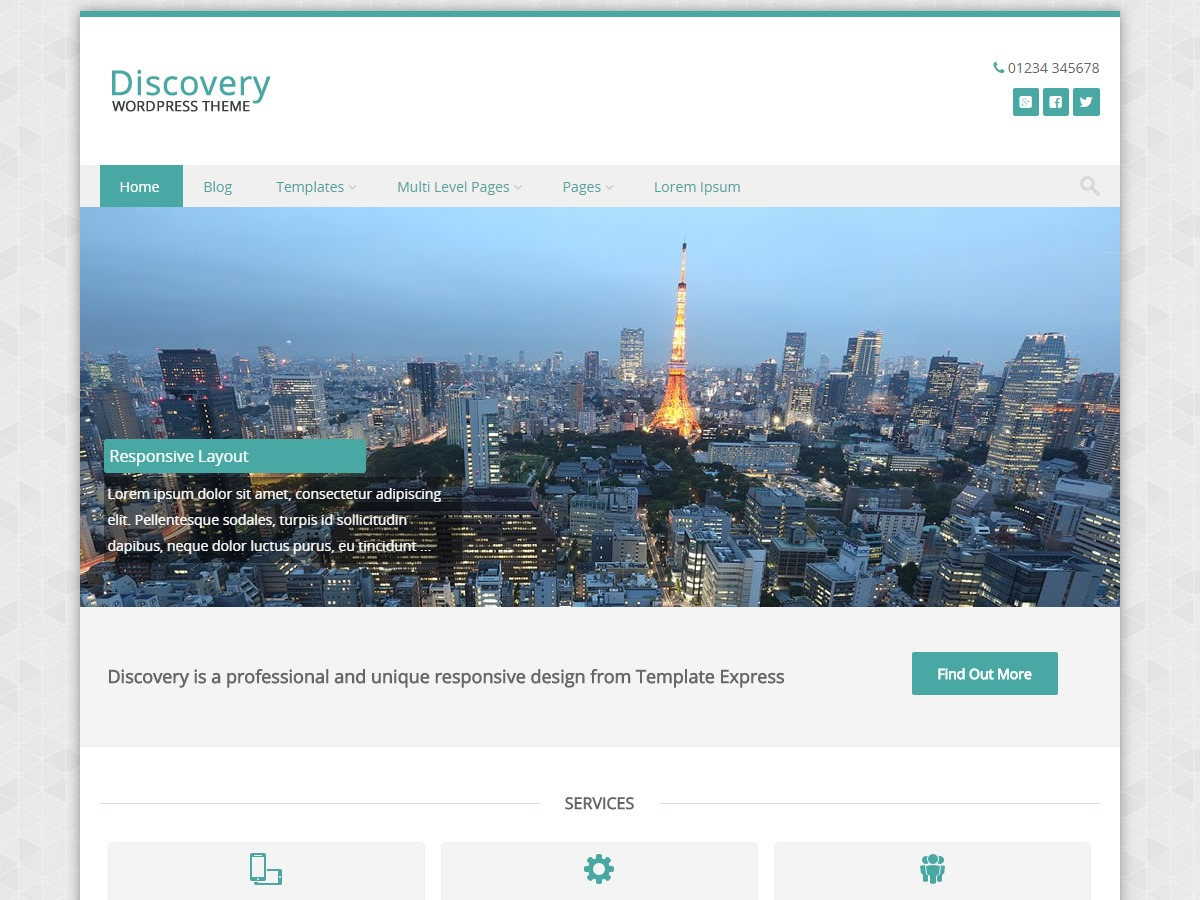 Discovery WordPress page template