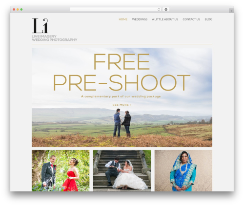 Exclusy WordPress template for photographers - weddings.liveimagery.co.uk