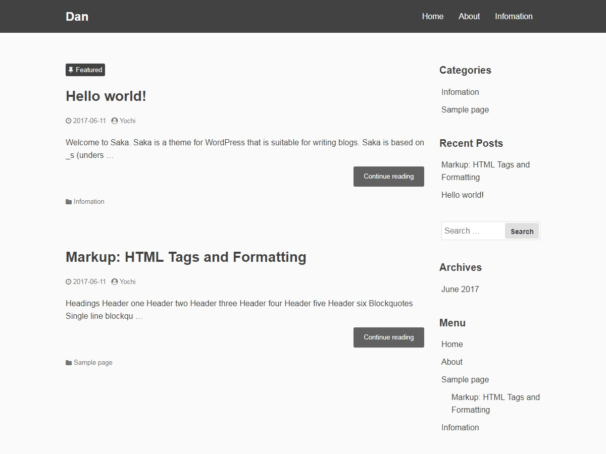 WordPress theme Dan Child