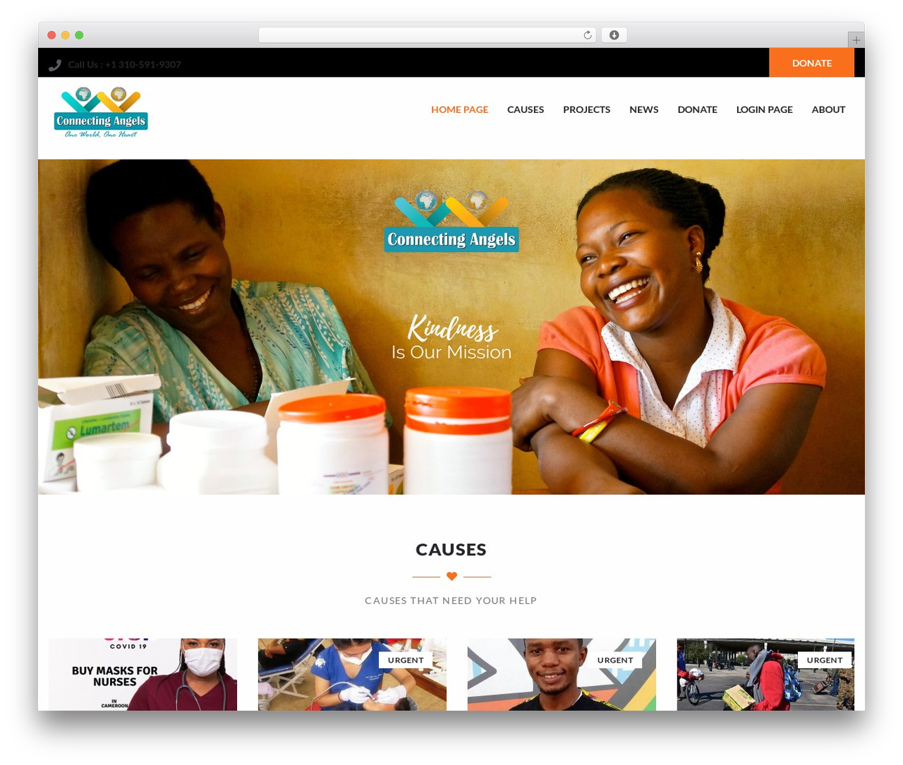 Charity Child Theme WP template - connecting-angels.org