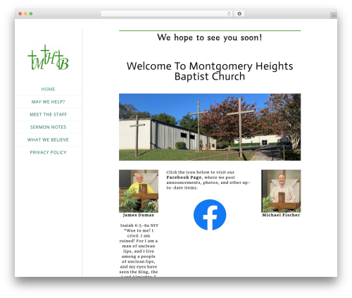 Church Suite template WordPress - montgomeryheightsbaptistchurch.org