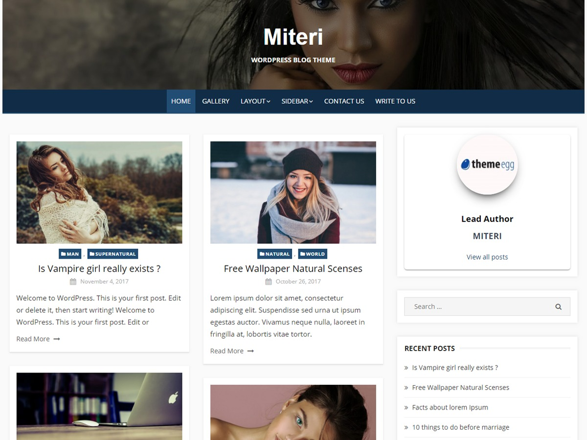 Miteri Child WordPress blog theme