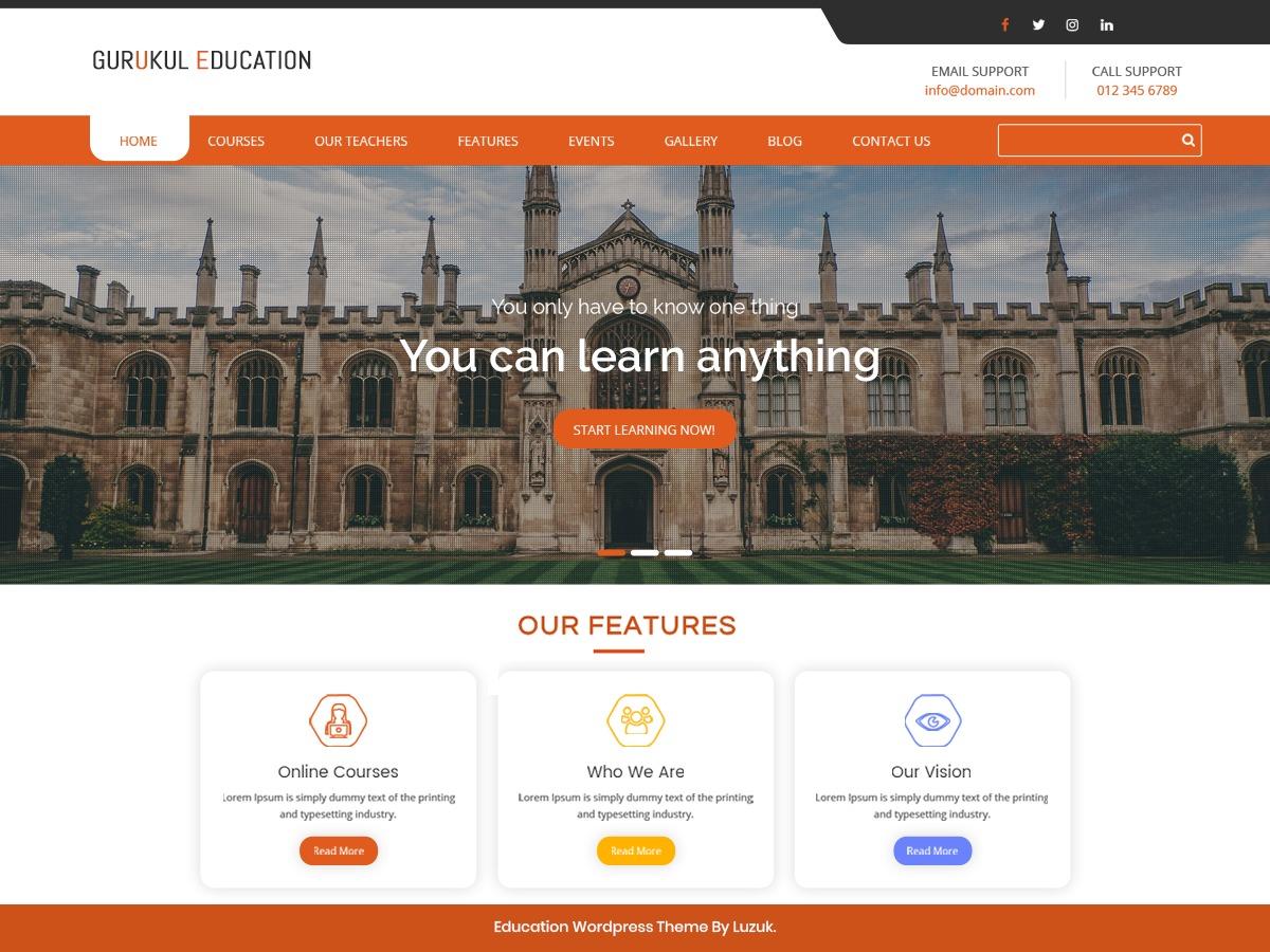 Gurukul Education company WordPress theme