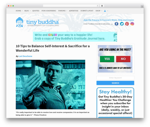 Free WordPress WP Biographia plugin - tinybuddha.com/blog/10-tips-balance-self-interest-and-sacrifice-for-a-wonderful-life