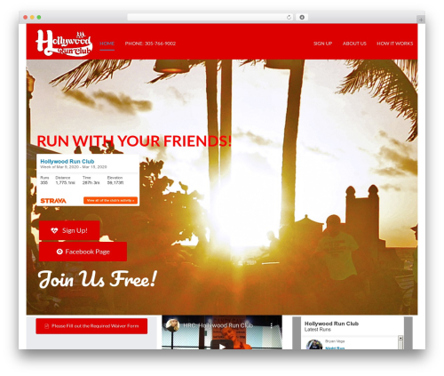 Startuply WP WordPress page template - hollywoodrunclub.org