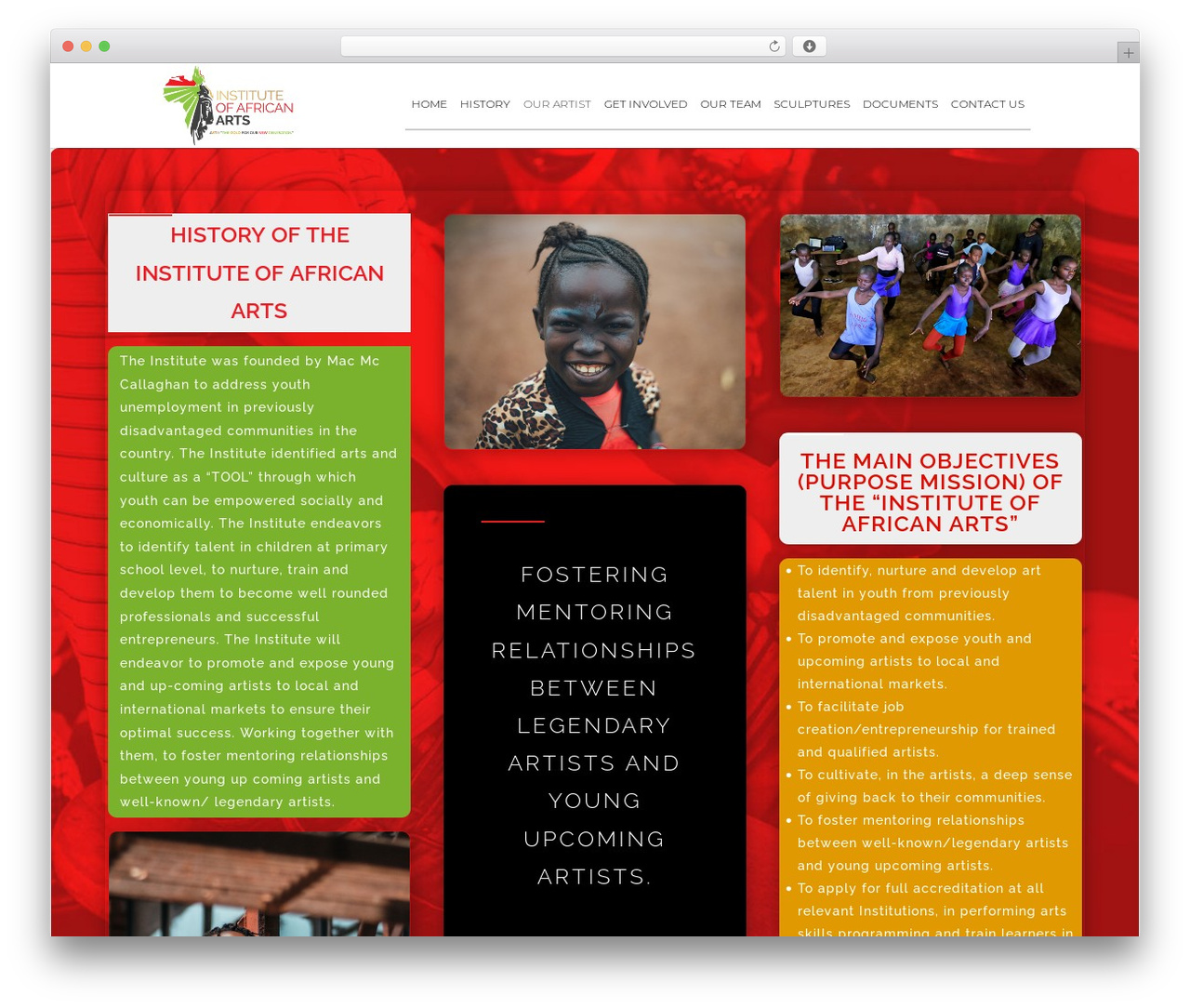 Divi WP template - afriarts.org