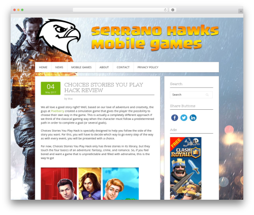 Contango WordPress gaming theme - serranohawks.org