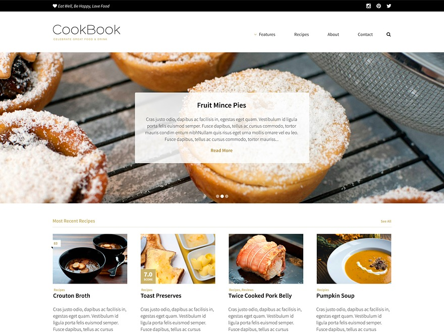 Cookbook WordPress blog template