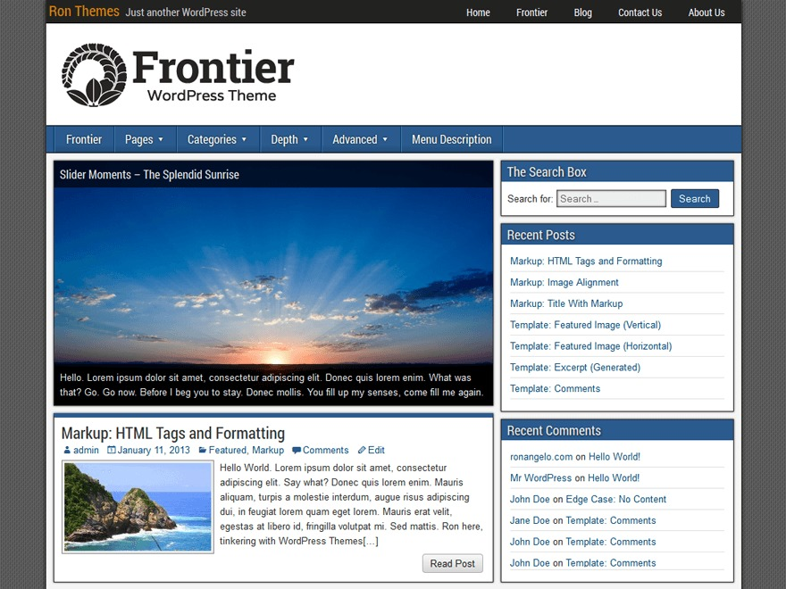 Frontier photography WordPress theme