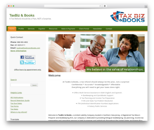 Customized WordPress theme design - taxbizandbooks.com