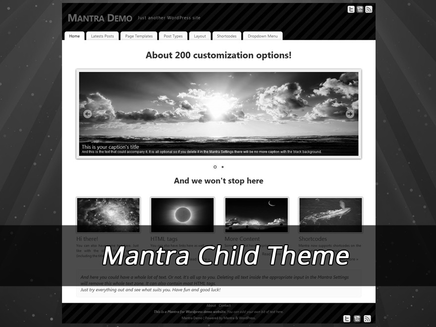 Mantra Child (no copyright link) WordPress website template
