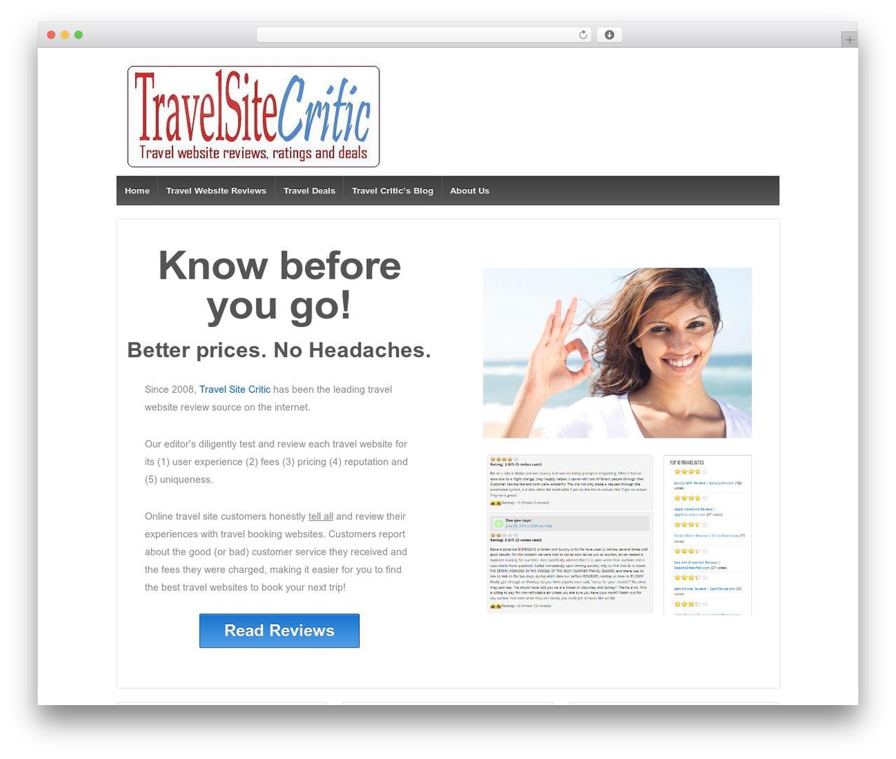 Responsive free WordPress theme - travelsitecritic.com
