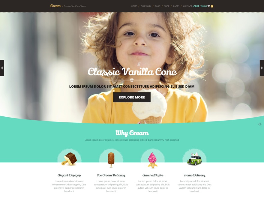 WP template Cream Child Theme