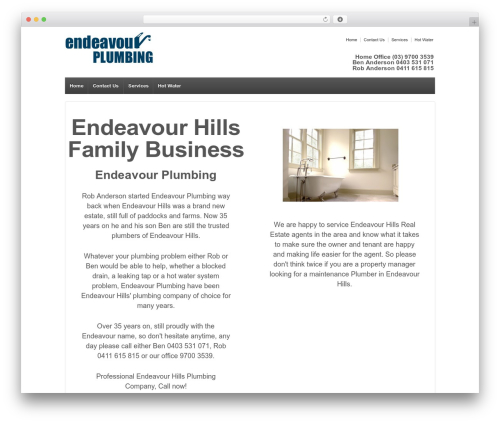 Responsive top WordPress theme - endeavour.plumbing