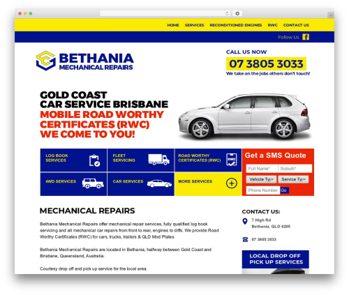Template WordPress AutoRepair - bethaniamechanical.com.au