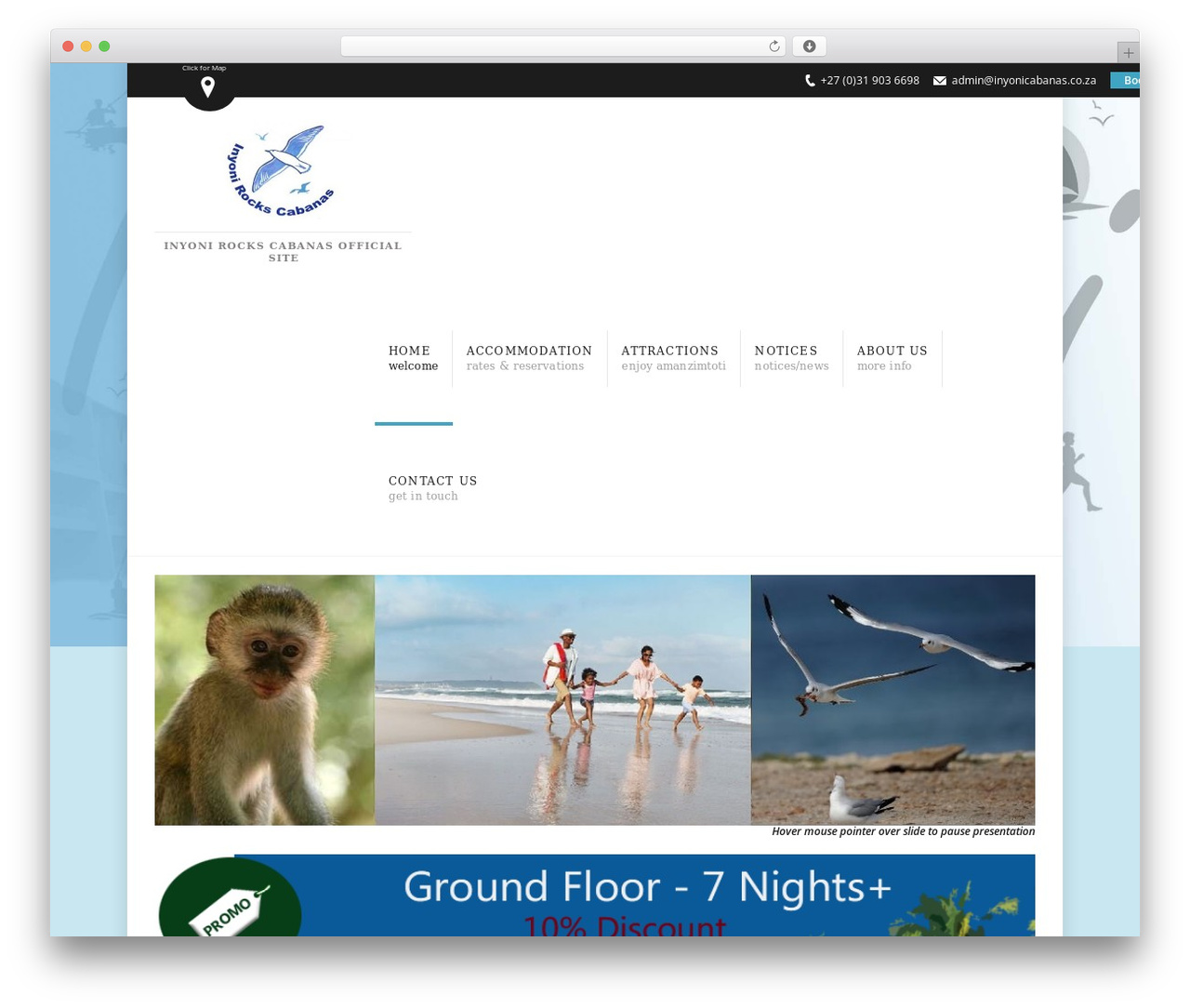 Soho Hotel WordPress theme - inyonirockscabanas.co.za