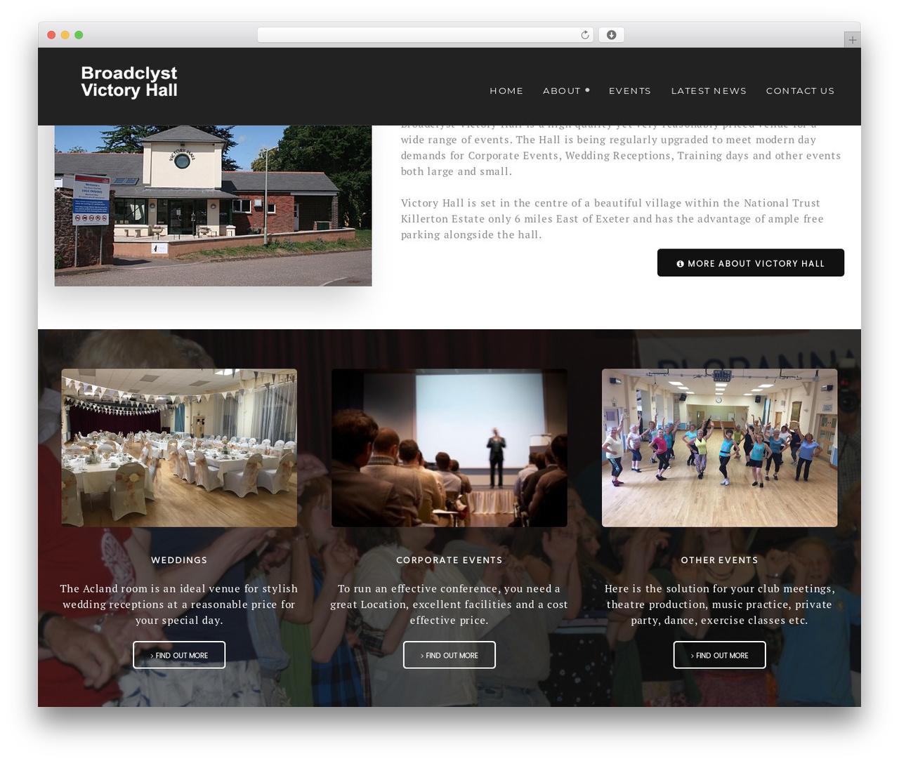 Best WordPress theme Modular - broadclystvictoryhall.co.uk