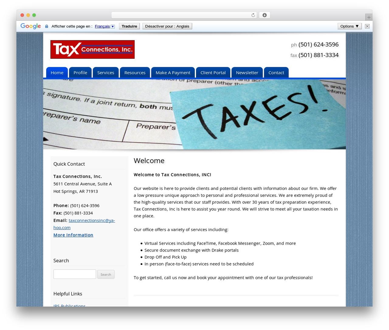 Customized business WordPress theme - taxconnectionsinc.net
