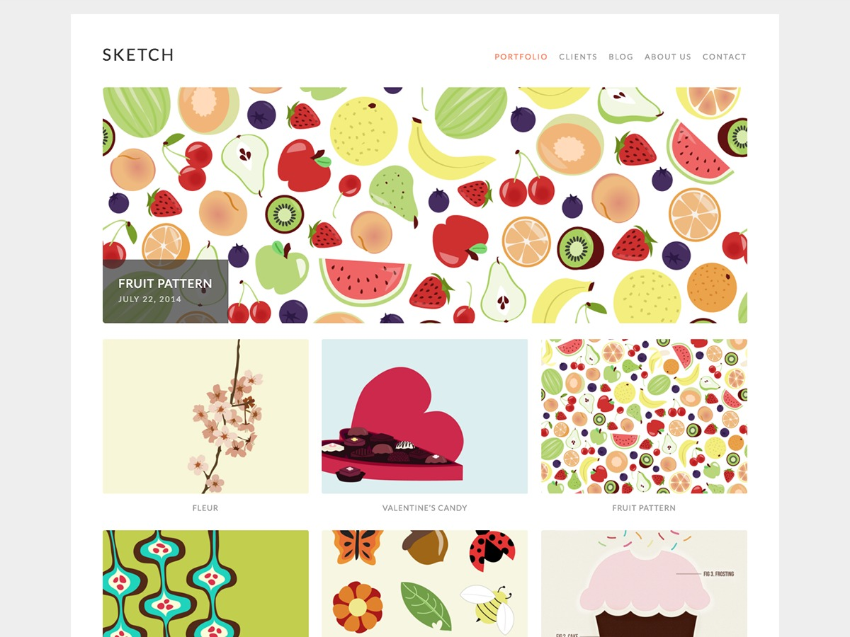 Sketch WordPress portfolio template