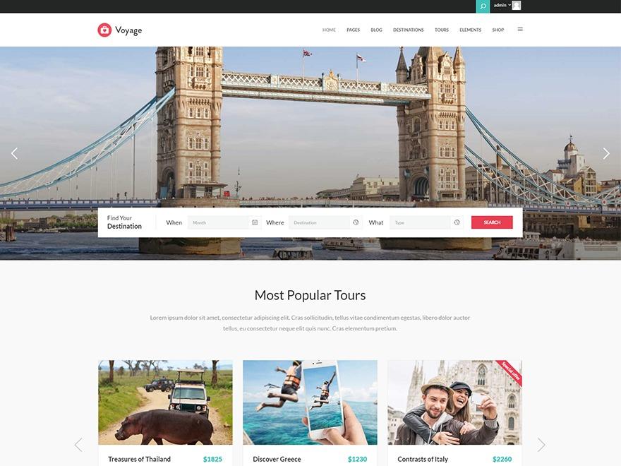 Voyage WordPress travel theme