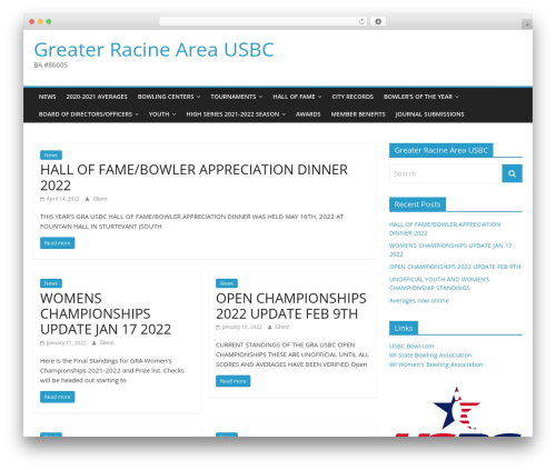 ColorMag free WordPress theme - racinebowling.org